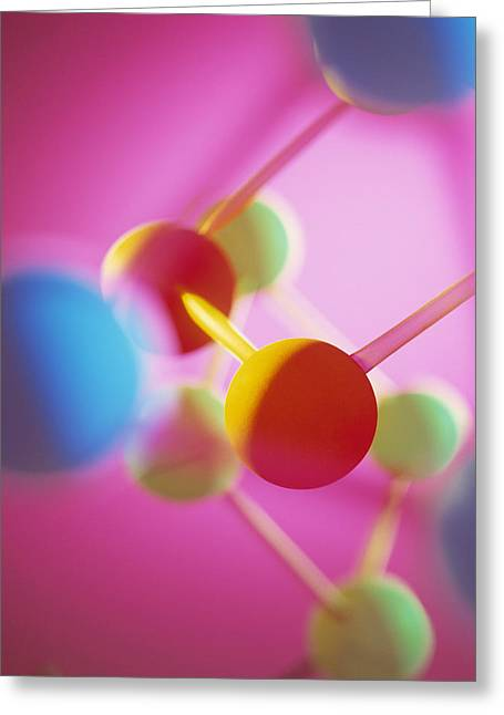 Molecular Model Greeting Cards - Molecular Model Greeting Card by Tek Image