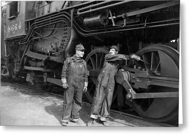Ecwork Greeting Cards - Silent Film Still: Trains Greeting Card by Granger