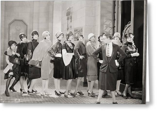 Employer Greeting Cards - Silent Film Still: Women Greeting Card by Granger