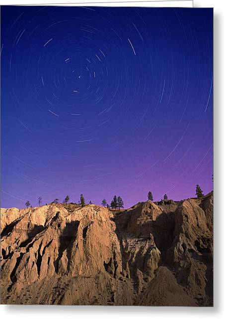 Sandstone Bluffs Greeting Cards - Star Trails Greeting Card by Kaj R. Svensson