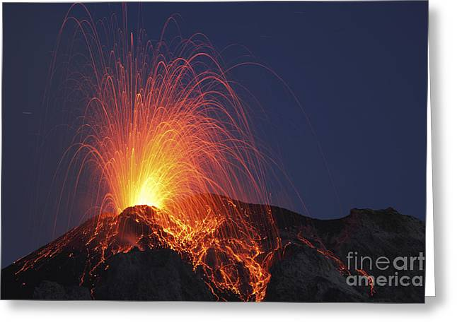 Land Feature Greeting Cards - Stromboli Eruption, Aeolian Islands Greeting Card by Martin Rietze