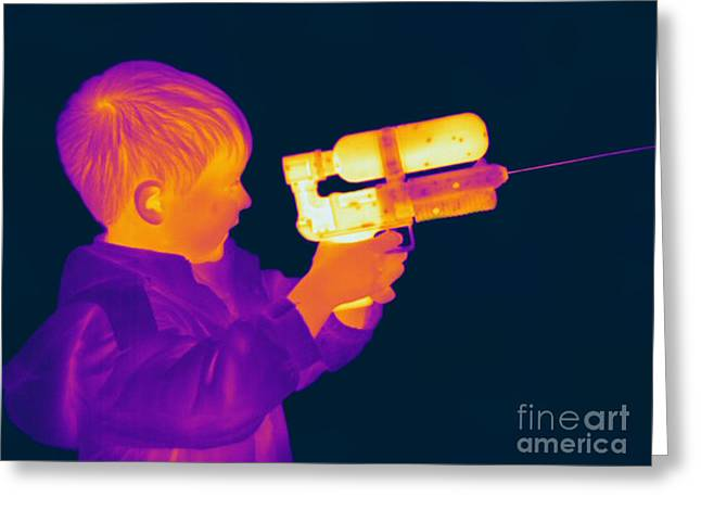 Hot Gun Greeting Cards - Thermogram Of A Boy Greeting Card by Ted Kinsman