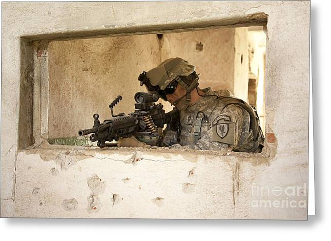 Fed Greeting Cards - U.s. Army Ranger In Afghanistan Combat Greeting Card by Tom Weber
