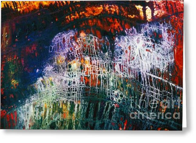 Terrorism Paintings Greeting Cards - 911 A Moody Abstract Representing The Terrors Of The Attack Greeting Card by Phil Albone