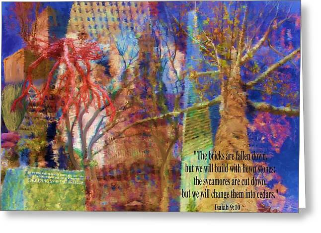 Tree Roots Mixed Media Greeting Cards - 911 Harbinger Isaiah 9 10  Greeting Card by Cindy Wright