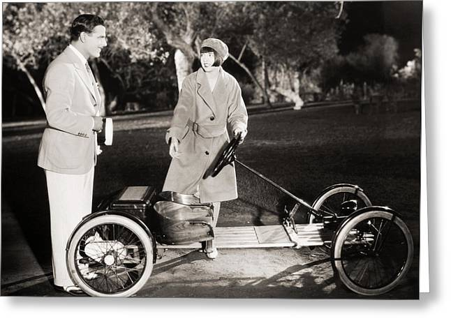American Automobiles Greeting Cards - Silent Film Still: Couples Greeting Card by Granger