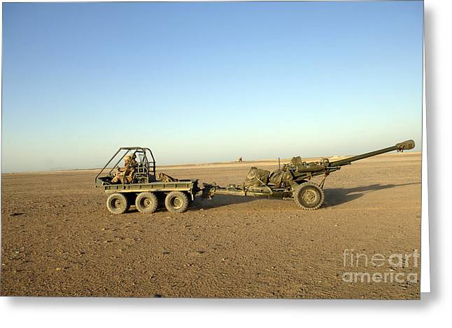 Artillery Gun Greeting Cards - A 105mm Light Gun Being Towed By An Greeting Card by Andrew Chittock