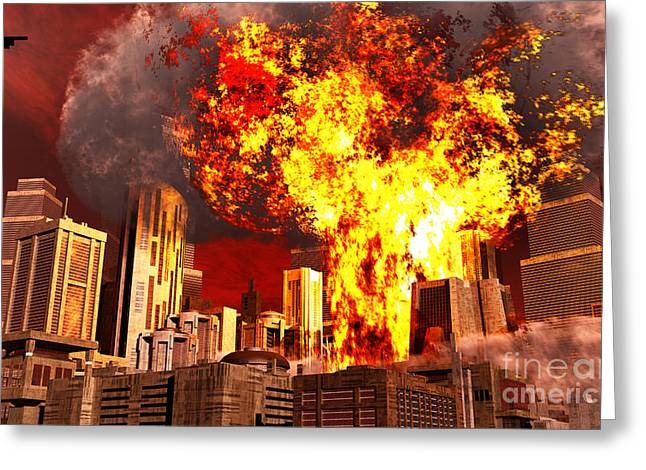Burning Buildings Greeting Cards - A 3d Conceptual Image Of A Stealth Greeting Card by Mark Stevenson