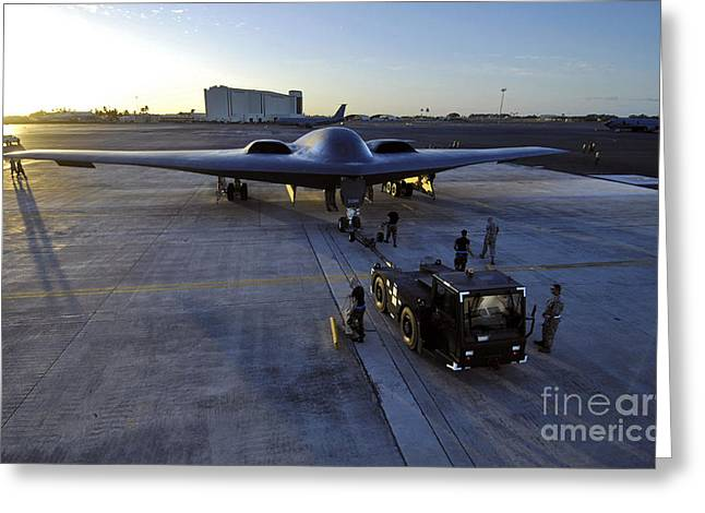 Two Spirit Greeting Cards - A B-2 Spirit Stealth Bomber Is Towed Greeting Card by Stocktrek Images
