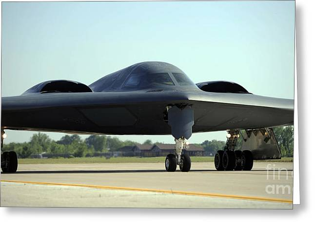 A B-2 Spirit Taxis Onto The Flightline Greeting Card by Stocktrek Images
