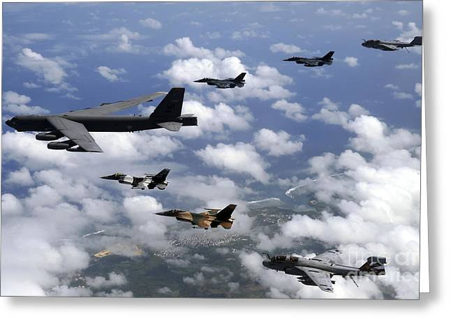 Aggressor Greeting Cards - A B-52 Stratofortress Leads A Formation Greeting Card by Stocktrek Images