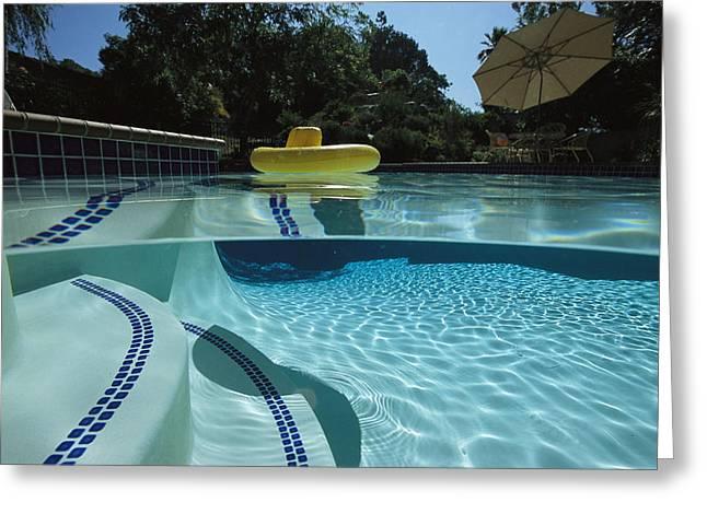 Aquatic Split Level Views Greeting Cards - A Backyard Swimming Pool In San Diego Greeting Card by Tim Laman