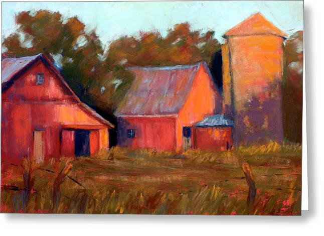 Outbuildings Greeting Cards - A Barn At Sunset Greeting Card by Cheryl Whitehall