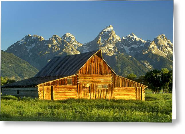 Wooden Building Greeting Cards - A Barn At The Base Of Grand Teton Greeting Card by Robbie George
