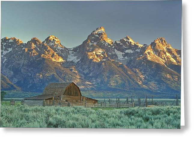 Wooden Building Greeting Cards - A Barn In The Rocky Mountains Greeting Card by Robbie George
