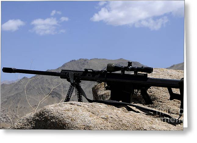 Zabul Greeting Cards - A Barrett .50-caliber M107 Sniper Rifle Greeting Card by Stocktrek Images