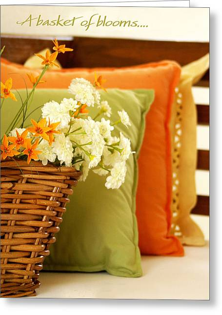 Cushions Greeting Cards - A Basket of Blooms Greeting Card by Holly Kempe