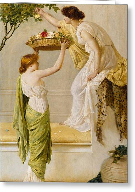 A Basket Of Roses - Grecian Girls Greeting Card by Henry Thomas Schaefer