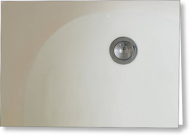 Drain Greeting Cards - A Bath Tub With Water. White Greeting Card by Roberto Westbrook