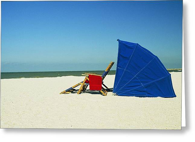 Sand Key Greeting Cards - A Beach Chair And Sun Shelter Welcomes Greeting Card by Scott Sroka