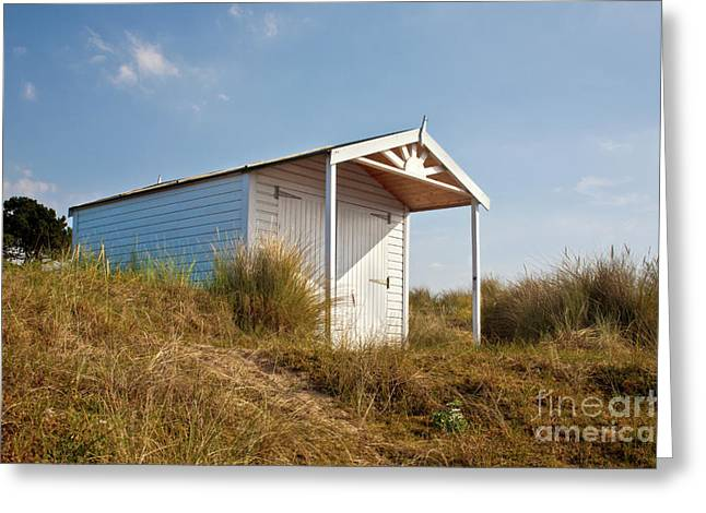 Ramshackle Greeting Cards - A Beach hut in the Marram Grass at Old Hunstanton North Norfolk Greeting Card by John Edwards
