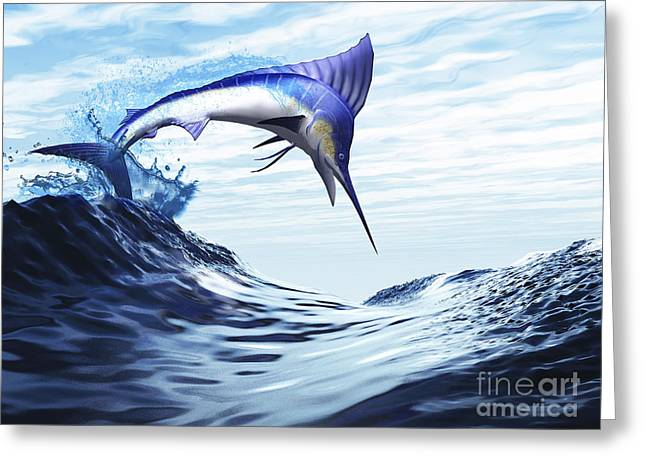 Swordfish Greeting Cards - A Beautiful Blue Marlin Bursts Greeting Card by Corey Ford