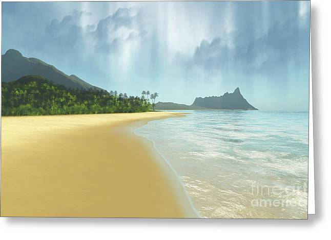 Island Imagination Greeting Cards - A Beautiful Tropical Island With Palm Greeting Card by Corey Ford