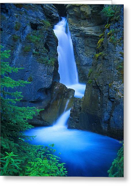 Johnston Greeting Cards - A Beautiful Waterfall, Johnston Canyon Greeting Card by Don Hammond