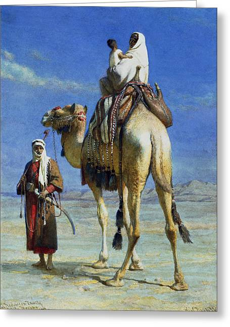 Orientalist Greeting Cards - A Bedoueen Family in Wady Mousa Syrian Desert Greeting Card by Carl Haag