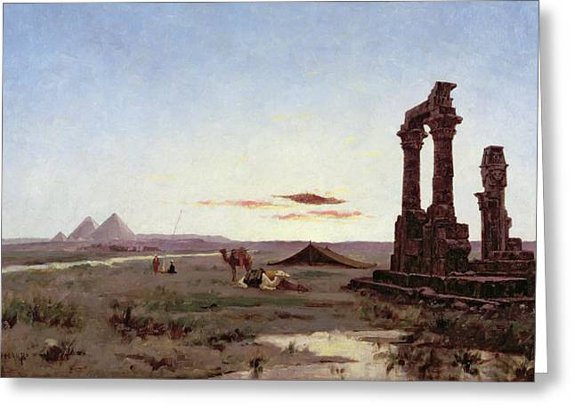 Pyramid Paintings Greeting Cards - A Bedouin Encampment by a Ruined Temple  Greeting Card by Alexandre Gabriel Decamps