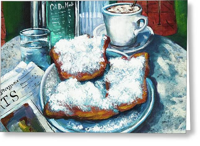 A Beignet Morning Greeting Card by Dianne Parks
