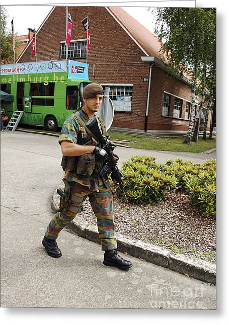 Foot Patrol Greeting Cards - A Belgian Soldier On Patrol Greeting Card by Luc De Jaeger