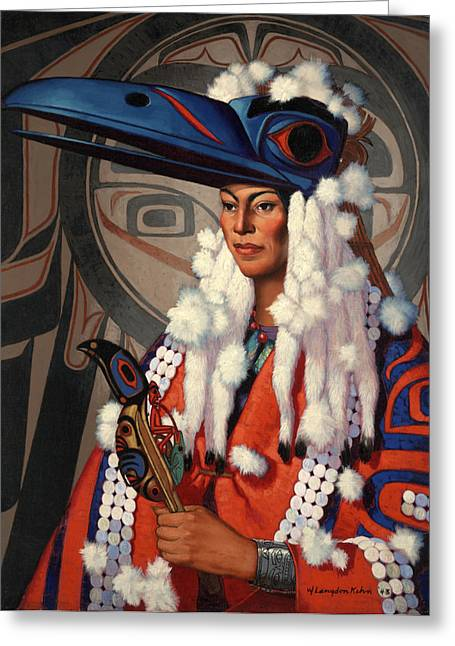 Ethnic And Tribal Peoples Greeting Cards - A Bellacoola Woman Wears A Raven Greeting Card by W. Langdon Kihn