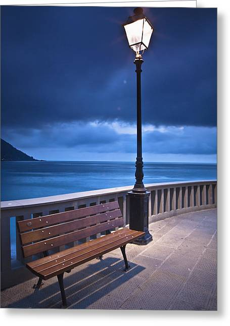 Camogli Greeting Cards - A Bench And Light Post Along The Greeting Card by David DuChemin