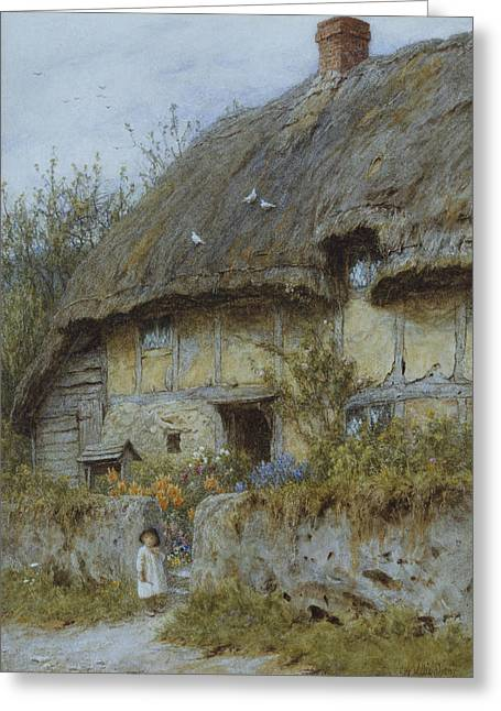 Thatch Greeting Cards - A Berkshire Cottage  Greeting Card by Helen Allingham
