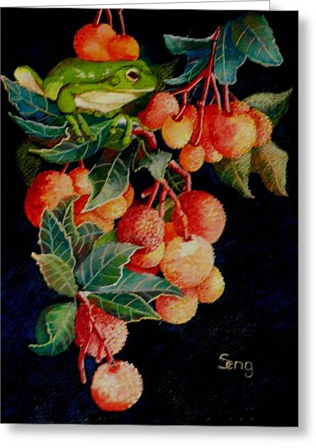 Tree Frog Pastels Greeting Cards - A Berry Good Time Greeting Card by Sandra Sengstock-Miller