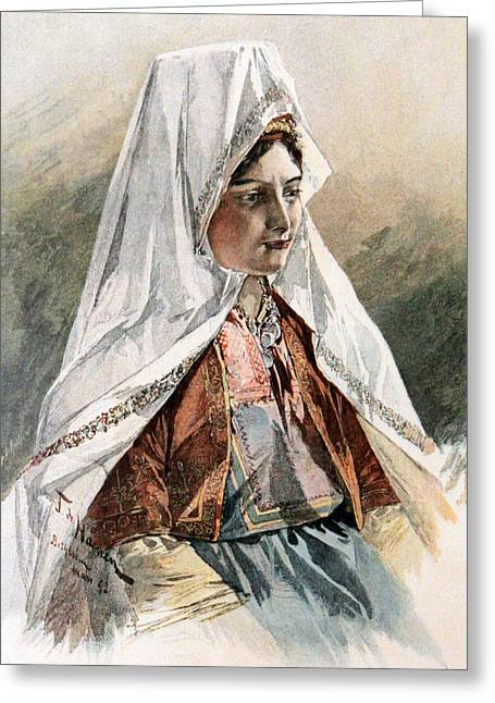 Ethnic Drawings Greeting Cards - A Bethlehemite Young Lady Greeting Card by Munir Alawi
