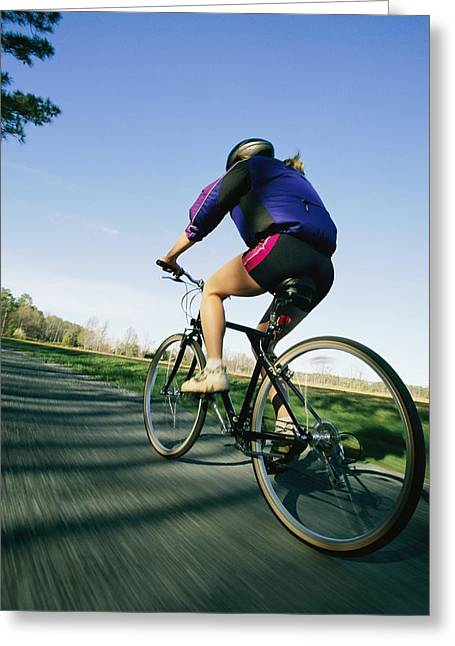 A Biker Rides On Marylands Eastern Greeting Card by Skip Brown