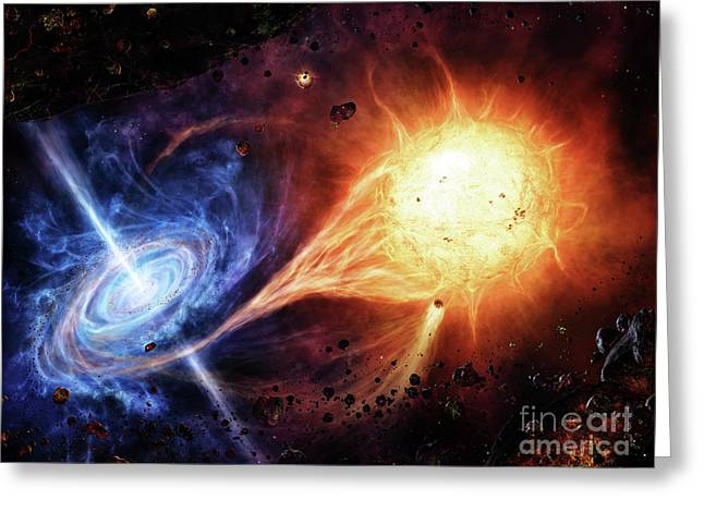 Binary Stars Greeting Cards - A Binary System Orbiting Near A Black Greeting Card by Brian Christensen