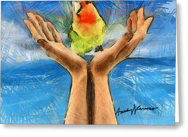 Pencil Drawing Greeting Cards - A Bird in Two Hands Greeting Card by Anthony Caruso