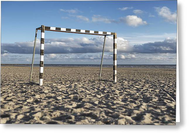 Goal Post Greeting Cards - A Black And White Painted Goal Greeting Card by Jaak Nilson
