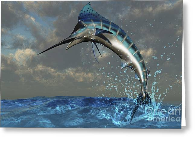 Swordfish Greeting Cards - A Blue Marlin Flashes Its Iridescent Greeting Card by Corey Ford