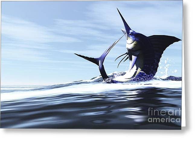 Swordfish Greeting Cards - A Blue Marlin Jumps Through The Ocean Greeting Card by Corey Ford