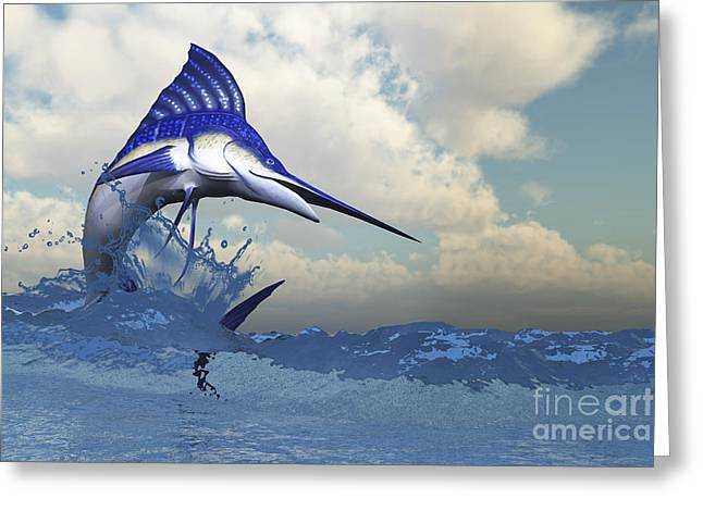Swordfish Greeting Cards - A Blue Marlin Shows Off His Beautiful Greeting Card by Corey Ford