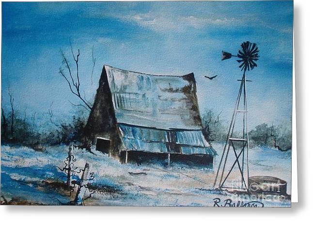 A Blue Winter In Texas Greeting Card by Robert Ballance