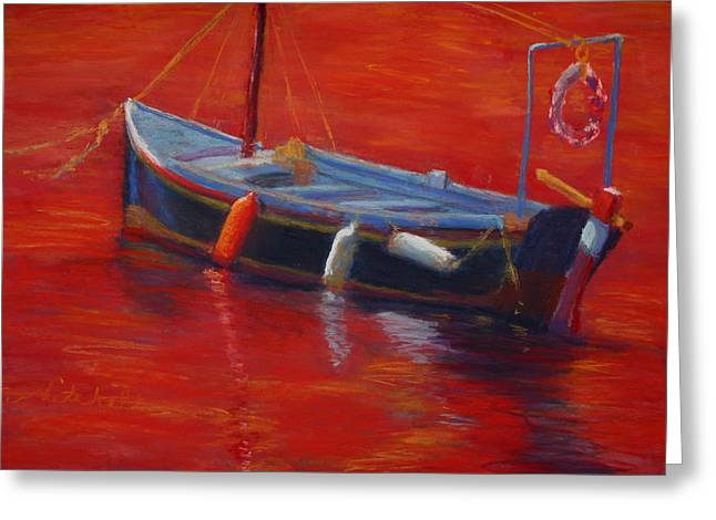 Greek Pastels Greeting Cards - A Boat In Red Water Greeting Card by Cheryl Whitehall