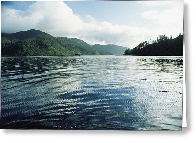 Queen Charlotte Islands Greeting Cards - A Boat Plies The Gentle Waters Greeting Card by Bill Curtsinger