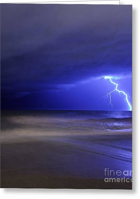 Images Lightning Greeting Cards - A Bolt Of Lightning From An Approaching Greeting Card by Luis Argerich