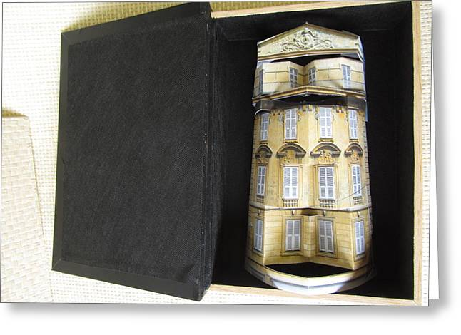 Book Sculptures Greeting Cards - A book holds a house of gold Greeting Card by Alfred Ng