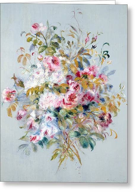 Background Paintings Greeting Cards - A Bouquet of Roses Greeting Card by Pierre Auguste Renoir
